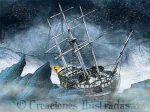 La historia comienza con un barco encallado en el hielo del ártico