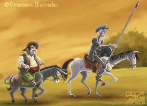 Don Quijote y Sancho Panza bajo el sol abrasador de La Mancha