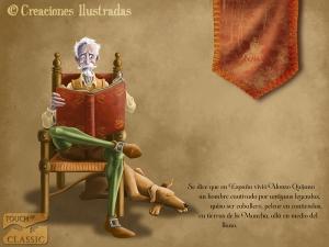 Don Quijote leyendo en su biblioteca