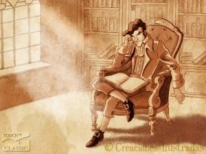 Víctor Frankenstein fascinado por la lectura
