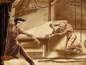 Frankenstein aterrado por su creación