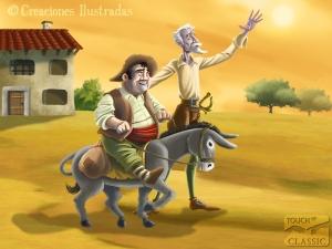 Don Quijote convence a Sancho para ir en busca de aventuras