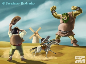 Don Quijote se lanza contra los gigantes
