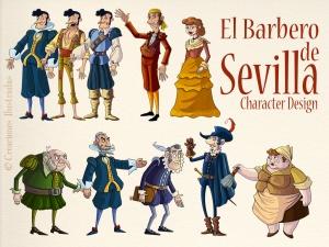 Diseño de personajes para la ópera interactiva El Barbero de Sevilla