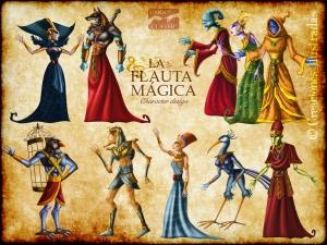Diseño de personajes para la ópera interactiva La Flauta Mágica de Mozart